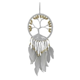 White Tree of Life Beaded and Feathered Hanging Dreamcatcher