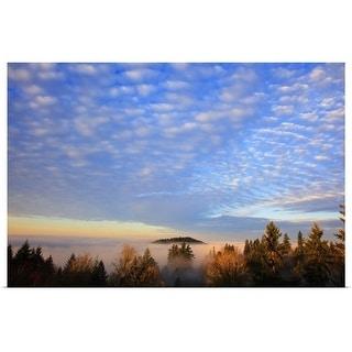 """""""sunrise through morning fog"""" Poster Print"""