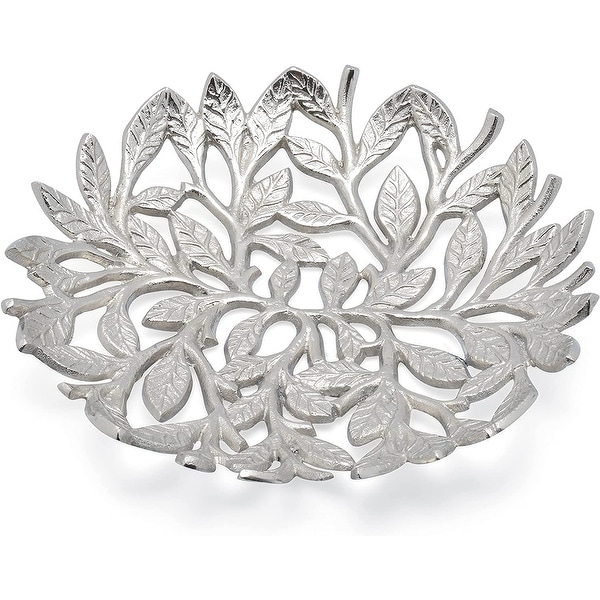 Cheer Collection Silver Leaf Decorative Fruit Bowl Dish. Opens flyout.