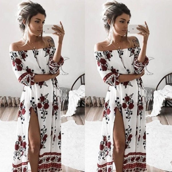 90388404dce Shop Boho Style Long Dress Women Half Sleeve Off Shoulder Beach Summer  Dresses Floral Print Vintage Chiffon White Maxi Dress - Free Shipping On  Orders Over ...