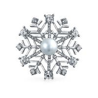Bling Jewelry Simulated Pearl Crystal Christmas Snowflake Pin Brooch Rhodium Plated