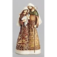 "9.75"" Brown and Gold Colored Leaf Paper-cut Look Holy Family Christmas Tabletop"