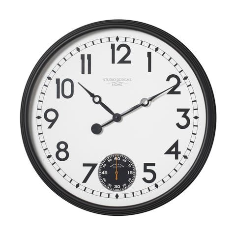 "Offex Home Terrace Large 32"" Wall Clock with Subdial for Seconds in Black/White Face"