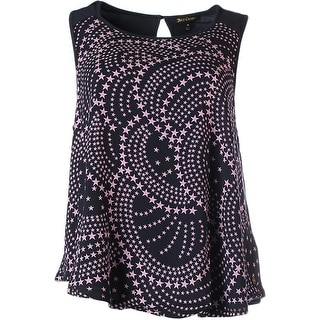 Juicy Couture Black Label Womens Voile Rainbow Stars Printed Rayon Tank Top - XL