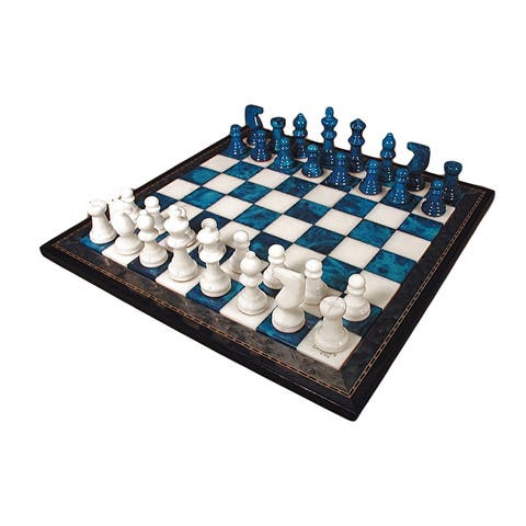 Blue & White Alabaster Chess Set Wood Frame - Multicolored - 1.5 X 15 X 15 inches