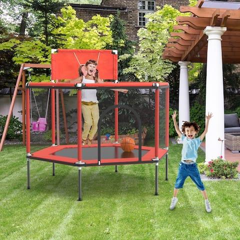 FUFU&GAGA 5' Round Kid Trampoline with Safety Enclosure