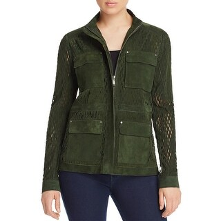 Elie Tahari Womens Jacket Lamb Suede Cut-Out