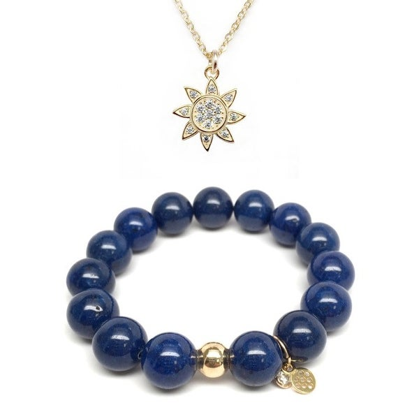 "Blue Jade 7"" Bracelet & CZ Sun Gold Charm Necklace Set"