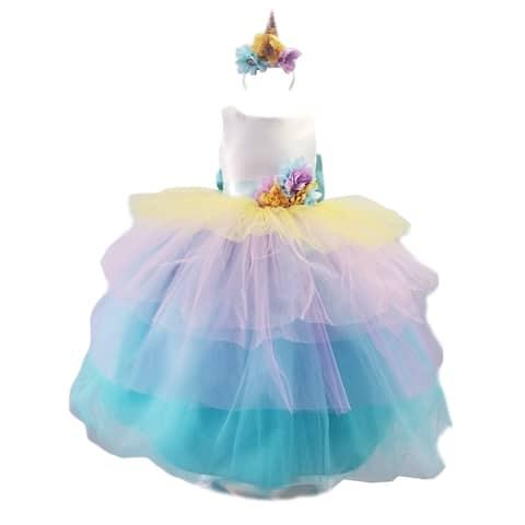Sinai Kids Mint Unicorn Ruffle Headband Flower Girl Dress Little Girls