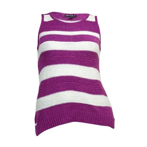 Cable & Gauge Women's Striped Tape-Yarn Sleeveless Sweater