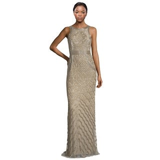 Theia Bead Embellished Sleeveless Column Evening Gown Dress Bronze