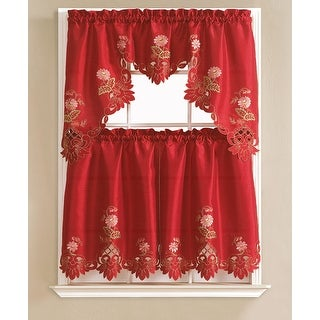 Cindy Flower Embroidered 3-Piece Kitchen Curtain Swag & Tiers Set, Burgundy, 60x36 & 30x36 Inches - N/A