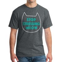 Stop Stressing Meow Cat Lovers Cool Men's Dark Heather T-shirt