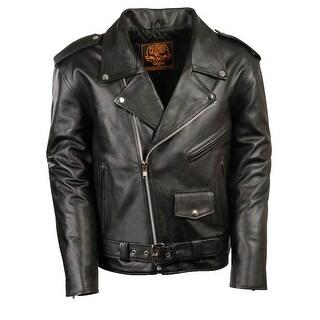 Youth Basic Black Leather Motorcycle Jacket