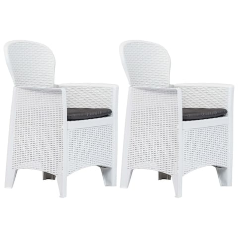 vidaXL Garden Chairs 2 pcs with Cushion White Plastic Rattan Look