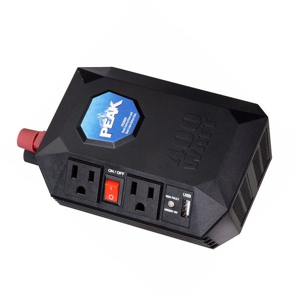 Peak PKC0M04 Mobile Power Inverter with 2 AC Outlets, 1 USB, 400 Watt, 110/120 Volt