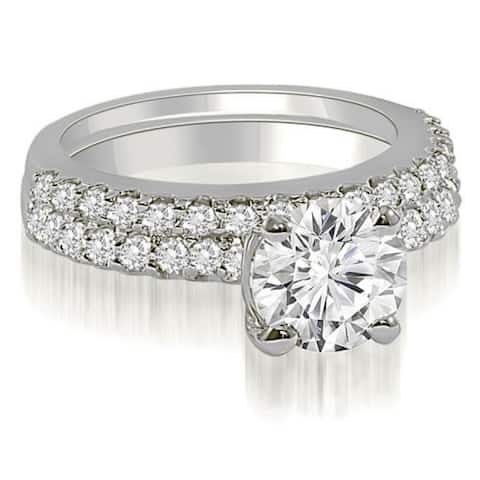 1.60 CT Round Cut Diamond Solitaire Matching Bridal Set in 14KT Gold - White H-I