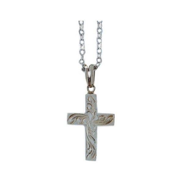 "Bar V Ranch Western Women Necklace Engraved Cross 1"" Silver 316-079"