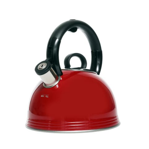Copco 2.1 Quart Whistling Tea Kettle - Modern Stainless Steel Tea Pot for Stovetop, Glossy Red Finish