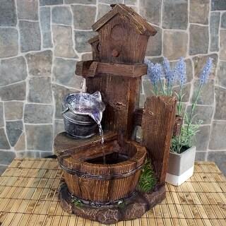 Sunnydaze Birdhouse & Silver Bucket Indoor Tabletop Water Fountain w/ LED Light