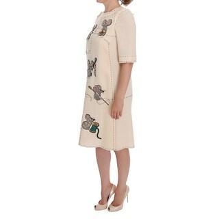 Dolce & Gabbana Beige Wool MOUSE Crystal Dress - it36-xs