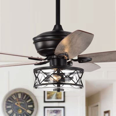 """Industrial 52"""" Reversible Wooden 5-Blades Ceiling Fan with Glass Shade"""