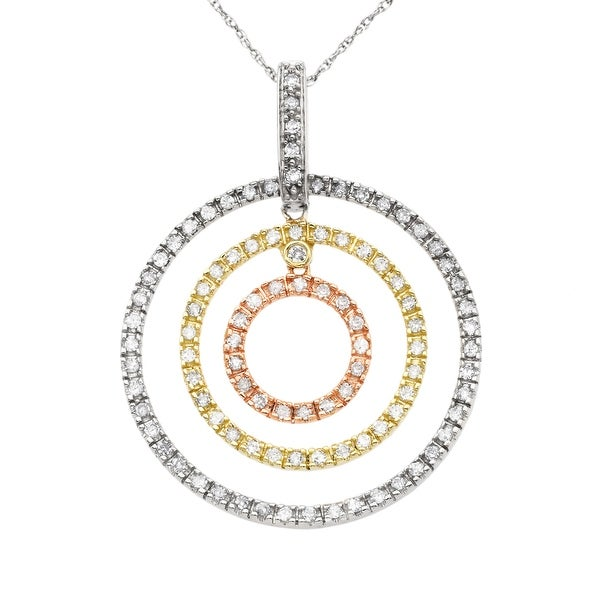 3/4 ct Diamond Circle Pendant in 14K Three-Tone Gold