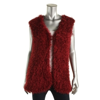 NY Collection Womens Feather Vest Fringe Casual Vest