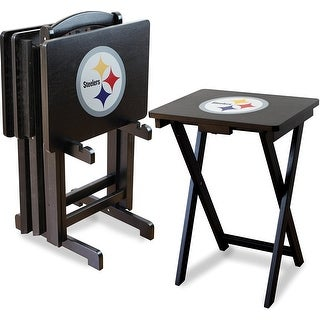 Official Licensed Pittsburgh Steelers NFL Football TV Snack Trays with Storage Racks (Set of 4)