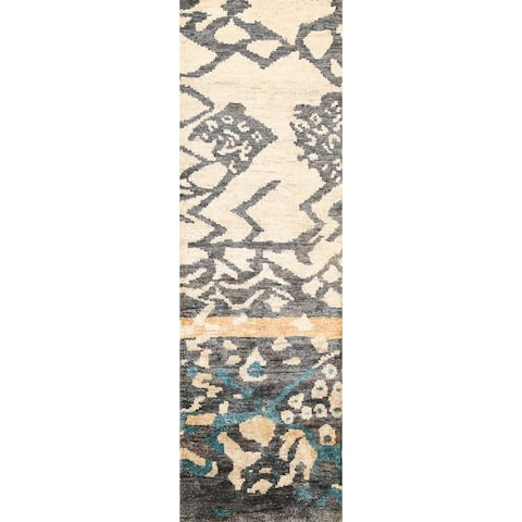 """Abstract Moroccan Oriental Staircase Runner Rug Hand-knotted Carpet - 2'7"""" x 7'9"""""""