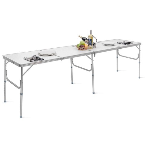 Costway 8FT Aluminum Folding Picnic Camping Table Lightweight In/Outdoor Garden Party