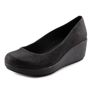 Easy Spirit e360 Clarita Women Open Toe Canvas Black Wedge Heel