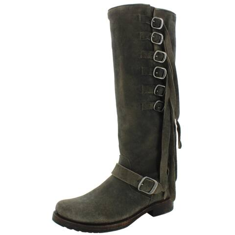 Frye Womens Veronica Strap Tall Knee-High Boots Suede Tall - Faded Black