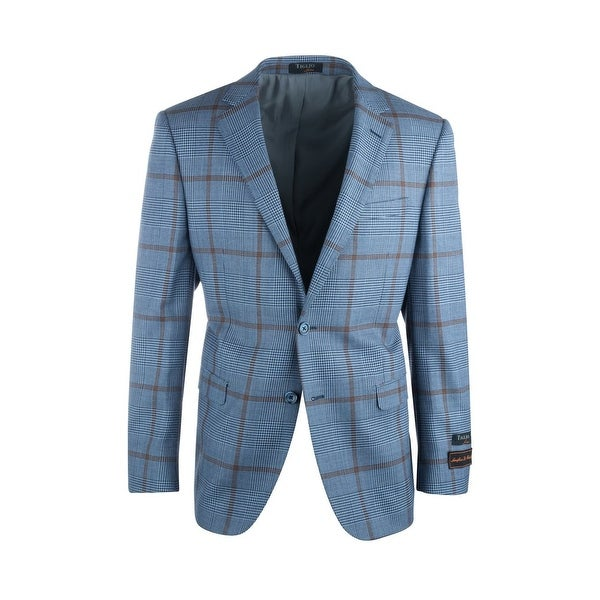 Sangria Blue and Black Houndstooth with Brown Windowpane Pure Wool Jacket by Tiglio Luxe. Opens flyout.