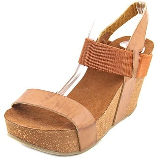 Mia Java Women Open Toe Synthetic Brown Wedge Sandal