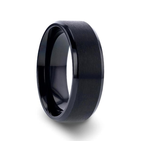 Lightweight Titanium 8 mm Thorsten Shire Comfort Fit Titanium Brushed Center Flat Wedding Ring with Polished Beveled Edges Titanium Rings for Men