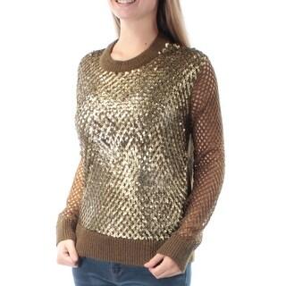 MICHAEL KORS $225 Womens New 6120 Gold Sequined Eyelet Long Sleeve Sweater M B+B