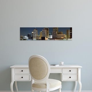 Easy Art Prints Panoramic Image 'Buildings in a city lit up at night, Detroit River, Detroit, Michigan' Canvas Art