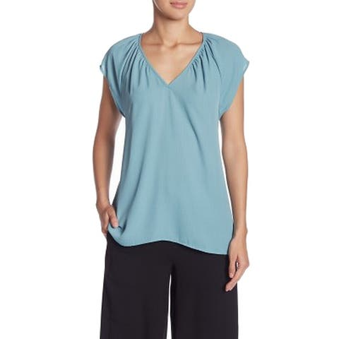 14th & Union Womens Blouse Solid Blue Size Small S Short Sleeve V-Neck 065