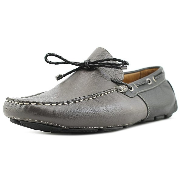 Mike Konos Tie Moc Men Round Toe Leather Gray Loafer