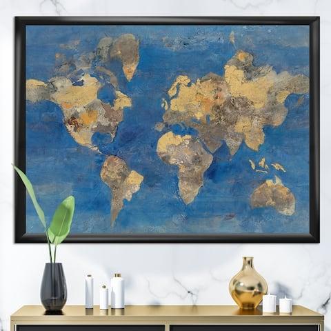 Designart 'Golden Glam World Map' Traditional Framed Art Print