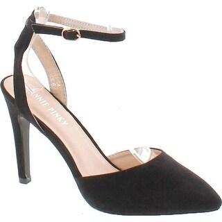 Annie Pinky Kara-04 Women's Sassy Ankle Strap Dress Stiletto Pumps - Black Suede