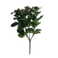 "17"" Weather Resistant Artificial Holly and Berries Christmas Spray - Green"