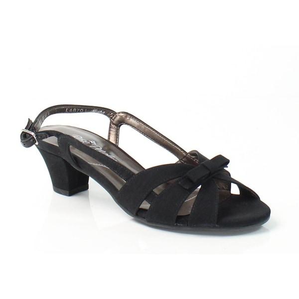 Rose Petals NEW Black Shoes Lela 6.5M Slingbacks Leather Sandals