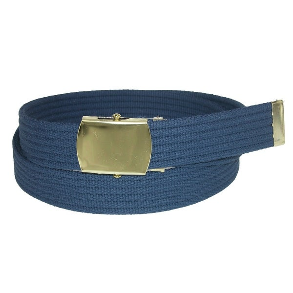CTM® Ribbed Fabric Belt with Brass Buckle - One size