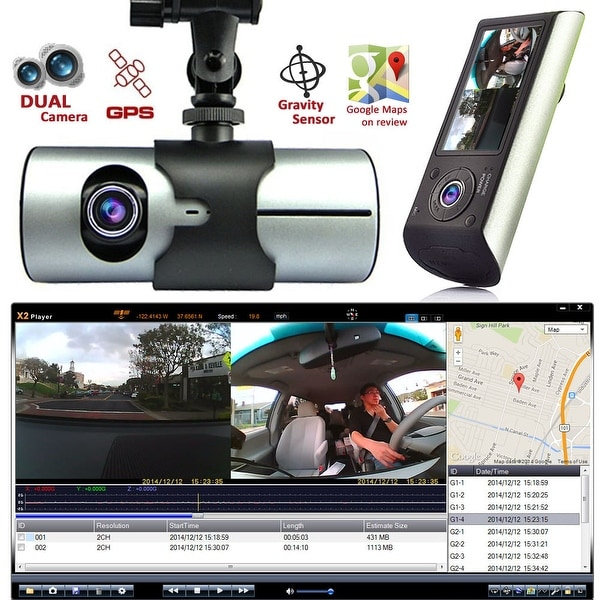 "Indigi® XR300 Car DVR DashCam Dual Cameras (Front+Rear) G-Sensor Driving Recorder with 2.7"" Split LCD w/ GPS Tracker - Black"