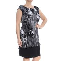 CONNECTED Womens Black Floral Cap Sleeve Jewel Neck Above The Knee Drop Waist Wear To Work Dress  Size: 12
