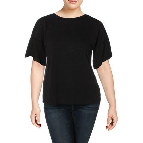 Bobeau Womens Hadley Pullover Top Burnout Short Sleeves