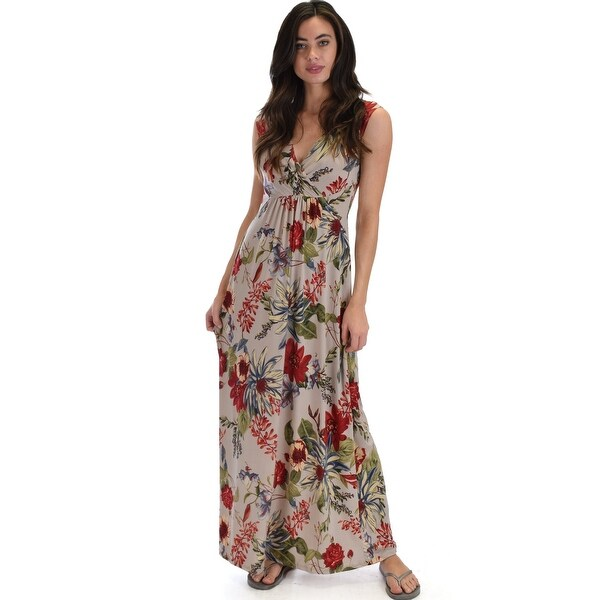 5f1a0b63c1 Shop sweetest kiss sleeveless yummy floral maxi dress-Beige-Large - Free  Shipping On Orders Over  45 - Overstock - 23109405