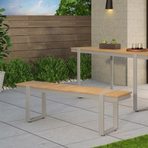 Cibola Outdoor Aluminum Dining Bench by Christopher Knight Home